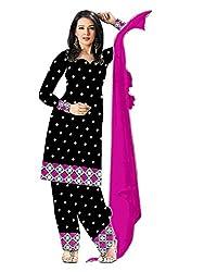 Leela Creators Women's Cotton Semi Stitched Salwar Suit (GE122_Pink)