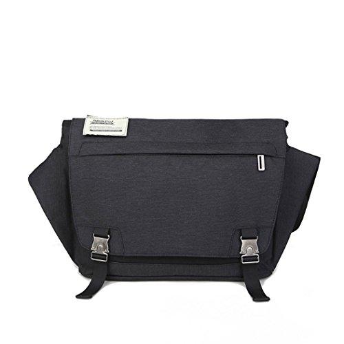 Eshow Borsa da uomo di tela con risvolto a tracolla da spalla multiuso per uso quotidiano Colore Nero 03