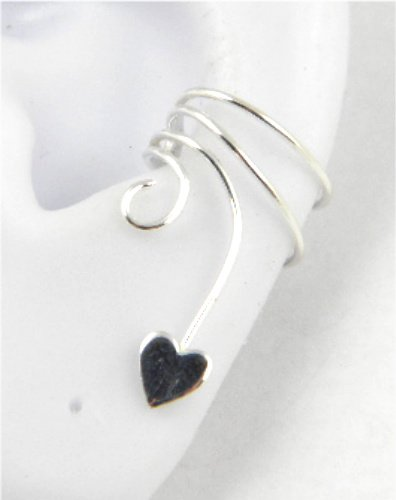 Sterling Silver Curly Q Small Flat Heart Ear Cuff Stamped Earring Left