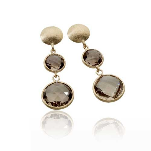 CleverEve Designer Series One Pair of Sterling Silver Matte Finished Earrings w/ Dual Light Smokey Quartz Drop 50.0 x 16.25mm