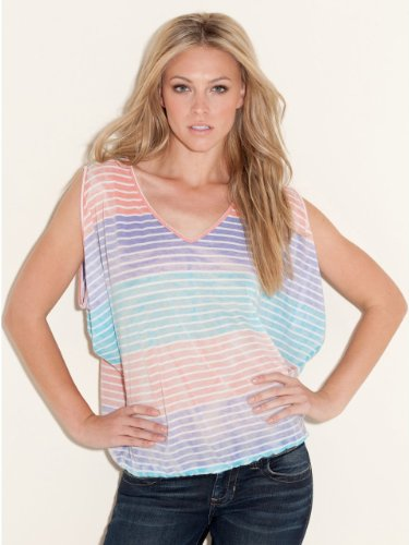 GUESS Willow Paradise Short-Sleeve Top, PARADISE MULTI STRIPE