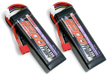 2 Packs 11.1V Tenergy 2200mAh 25C Li-Poly Battery Pack with Deans Connectors for 400 Class RC Helicopters