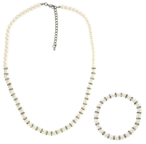 Lauren Lee Jewellery-Set Consists of Glass Pearl with Crystal Rhondel Necklace and Stretch Bracelet Set 46 cm + extender 10 cm