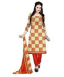 Shopeezo Beige and Orange Colored Micro Chiffon Printed Dress Material