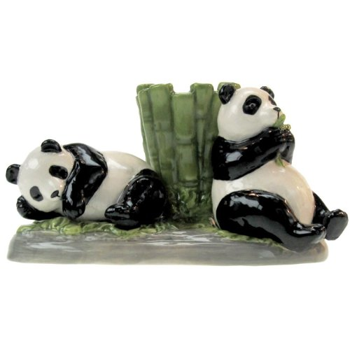 Westland Giftware Mwah Pandas Magnetic Ceramic Salt And Pepper Shaker With Toothpick Holder Set, 2.75-Inch