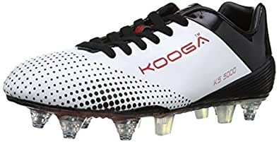 Kooga Unisex-Adult KS 5000 LCST Combi Rugby Boots 31407 White/Black/Red 6 UK, 40 EU Regular