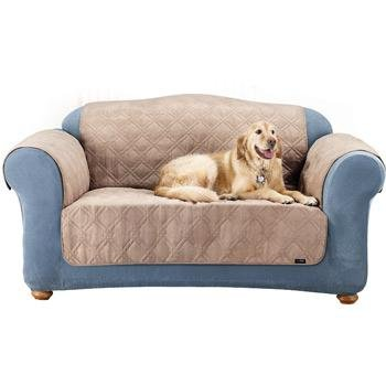 Sure Fit Quilted Suede Loveseat Pet Throw, Taupe front-944578