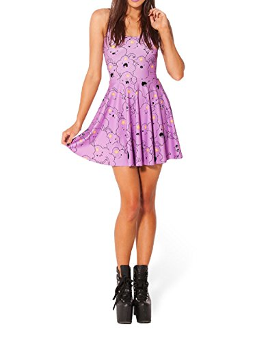 JJ-GOGO Sexy Lumpy Space Princess Print Reversible Skater Dress (Lumpy Space Princess Dress compare prices)