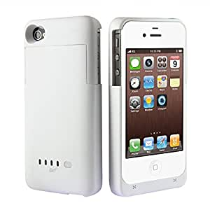 [Official Shop] BXT Colourful Ultra Slim 2000mAh External Power Pack Case and Rechargeable Back Up Battery Charger For iPhone 4 & 4S - White