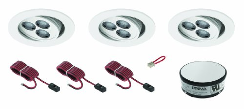 Prima Lighting AM8745K-WH-C 3 LED Adjustable Ceiling Recessed Kit with Finish Trim, Cool White