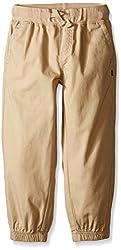 Nautica Little Boys' Pull On Pant W/Contrast Rib Waist and Drawstring, Tan Acorn, 6