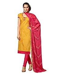 Varanga Yellow Embroidered Dress Material with Matching Dupatta KF2DRG13012