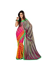 Admyrin Multi Colour Georgette Saree With Green Blouse Piece - B00W7GYFLA