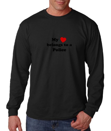 My Heart Belongs to a Police Professions Careers Long Sleeve T-Shirt Tee Shirt