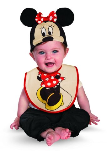 Disguise Costumes Drool Over Me Disney Minnie Mouse Infant Bib and Hat  Accessory, Red/Black/Yellow, 0-6 Months