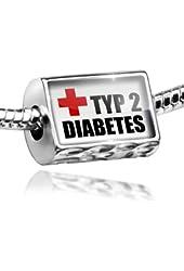 Charm Medical Alert, type 2 diabetes - Bead Fit All European Bracelets , Neonbl