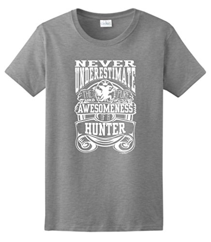 Never Underestimate Awesome Hunter, Hunting Ladies T-Shirt Large Sport Grey