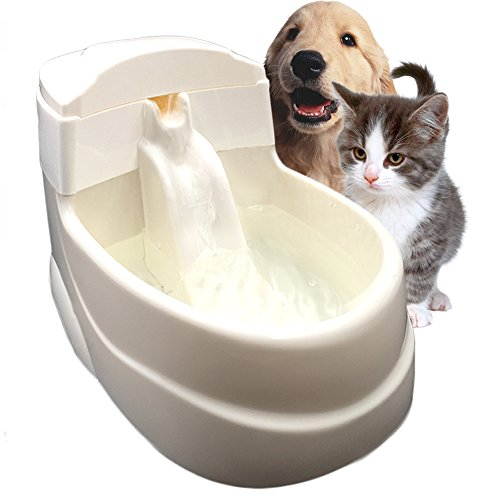 Tri-polar 63oz Pet Water Fountain Fresh Flow Waterfall Style Eco-Friendly Cat Water Fountain Drinkwell and PP Dog Drinking Fountain Dog Water Bowls Cat Water Dispenser for Improved Health (Dog Water Dispenser Steel compare prices)