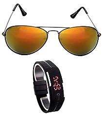 MagJons Black Frame Yellow Aviator Sunglasses With Digital Slim Watch