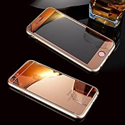 Exoic81 Electroplated Mirror Front + Back Tempered Glass Screen Protector For Apple iPhone 4 / 4S / 4G - RoseGold