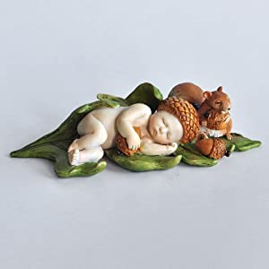 Top Collection Miniature Fairy Garden and Terrarium Sleeping Acorn Fairy Baby with Squirrel Statue