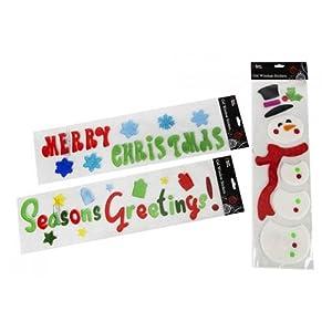 3 pack merry christmas decoration gel window for Decoration noel fenetre gel