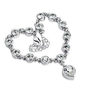 Heart Anklet Bracelet Swarovski Elements Cz Crystal Jewelry