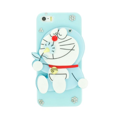 Ipremium Case® Cartoon Series - Cute 3D Doraemon Sitting & Smelling Flower W/ Mirror Iphone 5/5S Case - Handmade Diy - Bling Bling Rhinestones - Perfect Gift (Package Includes Extra Crystals & Screen Protector)