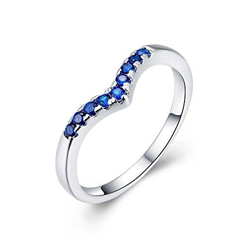 Fashion Jewelry NYKKOLA Ocean Blue Crystal-Anello in argento Sterling 925, con pacchetto regalo per Natale, Argento, 18, cod. TEYJT6YHRH388