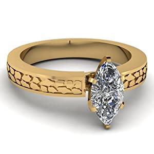0.50 Ct Marquise Cut Enchanting Diamond Solitaire Archaic Style Engagement Ring 14K GIA