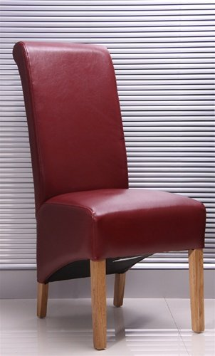 RED LEATHER DINING CHAIRS WITH OAK LEGS - X 6 . QTY. SIX