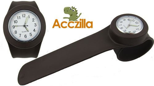 Acczilla Slap Watch - Silicone Slap On Watch - Chocolate Brown - Large