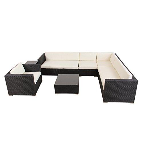 POLY RATTAN AZUR Lounge Gartenset SCHWARZ Sofa Garnitur Polyrattan Gartenmöbel bestellen