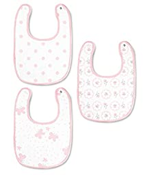 SwaddleDesigns Muslin Bib, Butterflies and Posies (Set of 3 in Pastel Pink)