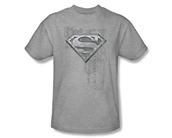Superman RIVETED METAL Logo Adult Heather Gray T-shirt Tee, Small