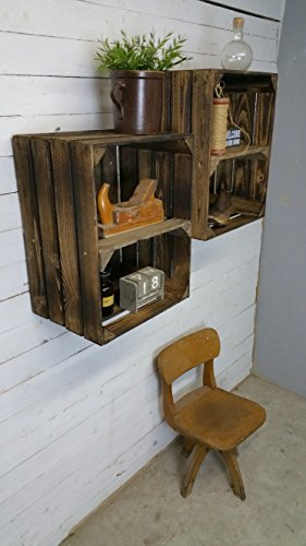 2-Stck-GEFLAMMTE-Holzkisten-Weinkisten-Obstkisten-mit-Zwischenregal-von-Cronenwerth