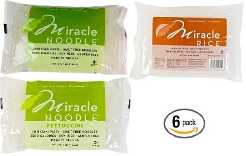 Miracle Noodle Variety Pack 2 of Each - Shirataki Angel Hair Pasta, Shirataki Fettuccini Pasta and Shirataki Miracle Rice (Pack of 6)