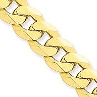 10mm, 14 Karat Yellow Gold, Beveled Curb Chain – 8 inch