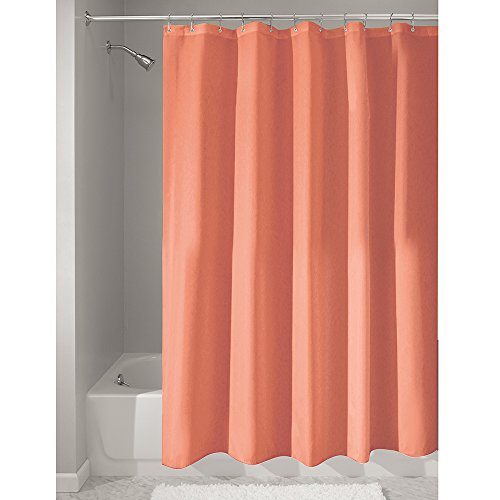 ... Free Water-Repellent Fabric Shower Curtain, 72-Inch by 72-Inch, Coral