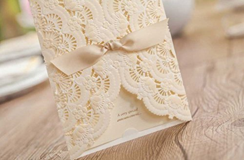 WISHMADE Laser Cut Invitations Cards Kit Beige Printable 50 Count for Wedding Birthday Bridal Shower with Envelopes Seals 3