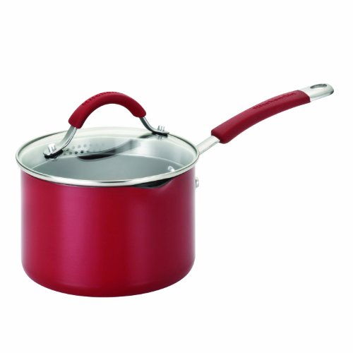 KitchenAid 11650 2 Quart Covered Straining Saucepan with Pour Spouts - Red
