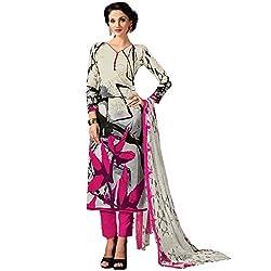SHELINA Women Off White Glass Cotton Digital Printed Salwar Suit