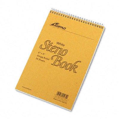 Ampad 25472 Spiral Steno Book Gregg Rule 6 x 9 White 70 Sheets