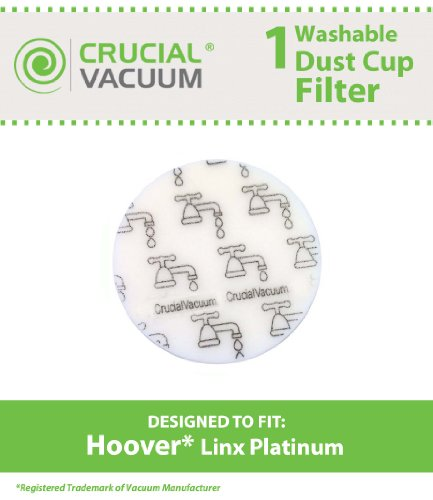Crucial Vacuum Hoover Linx Washable & Reusable Foam Sponge Filter; Compare To Hoover Platinum Linx Part # 902185003, 562161003, 410044001, Bh50010, Bh50015, Sh20030
