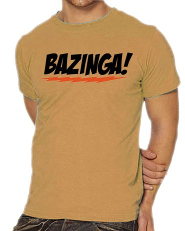 Touchlines Herren T-Shirt The Big Bang Theory - Bazinga Logo, sand, S, B1797-Sand-S