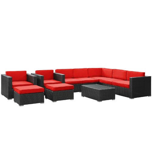 LexMod Avia Outdoor Wicker Patio 10-Piece Sectional Sofa Set in Espresso with Red Cushions