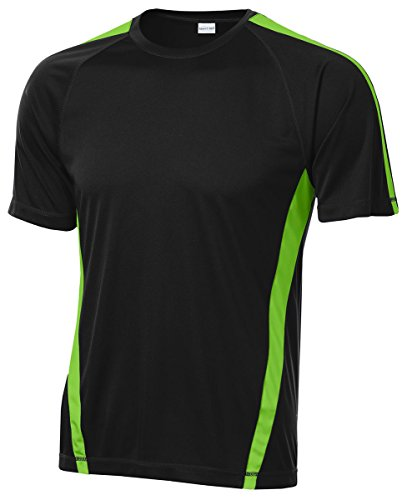 Sport-Tek Men'S Big And Tall Colorblock Breathable Competitor T-Shirt,X-Large Tall,Blk/Lime Shock