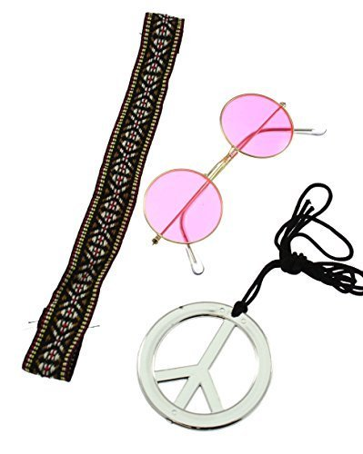 Unisex Instant Hippie Kit with headband, round pink teashades and CND medallion.