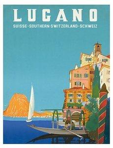 World Travel Poster Swiss Italian Resort Lugano Switzerland 9 inch by 12 inch