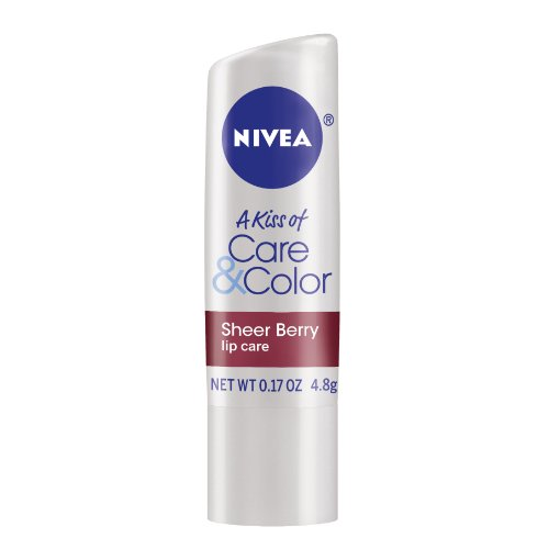 Nivea Lip Care A Kiss Of Care And Color Tinted Lip Balm Carded Stick, Berry (Pack Of 6)